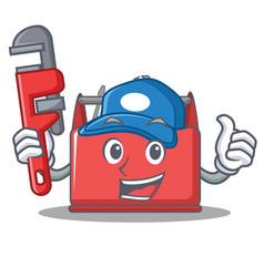 plumber tool box character cartoon vector image