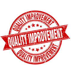 Quality improvement round grunge ribbon stamp vector