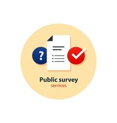Questionair survey concept consulting services vector