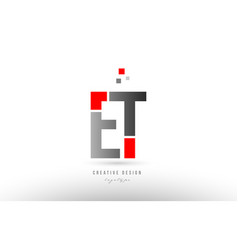 Red grey alphabet letter et e t logo combination vector