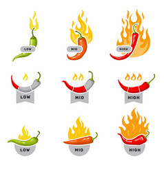 red peppers labels for kitchen mid low and high vector image