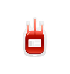 red plastic blood bag with label icon - giving vector image
