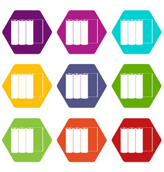 rolls of paper icon set color hexahedron vector image