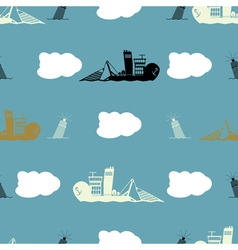 Seamles background with sea objects vector image