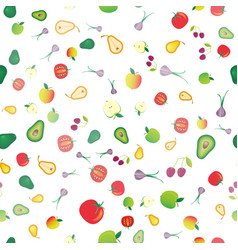 seamless background of different fresh fruits vector image