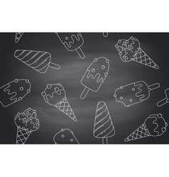 Seamless pattern with ice cream in line graphic on vector