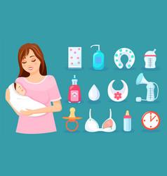 set accessories for care newborn vector image