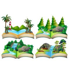 Set nature landscape on open book vector