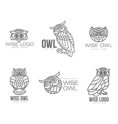 Set of black and white owl logo templates vector
