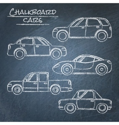 Set of car sketches on chalkboard vector