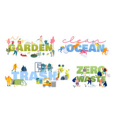 set posters with tiny people care garden vector image