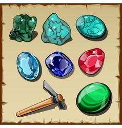 Set seven types raw gemstones and kirk vector