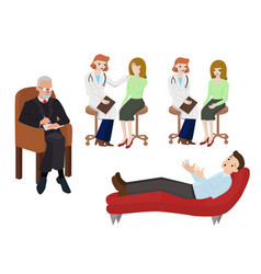set with doctors talking to patients image vector image