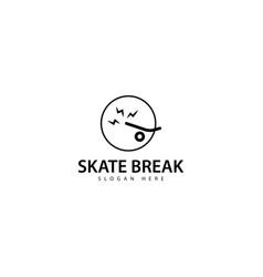 Skateboard break logo design icon vector
