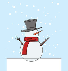 snow man with top hat continuous line carto vector image