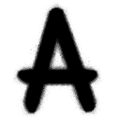 sprayed A font graffiti in black over white vector image