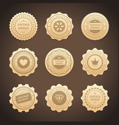 stickers with vintage gold design label vector image