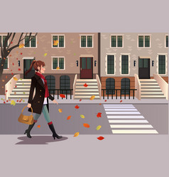 Stylish girl walking in new york city vector
