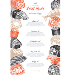 Sushi menu design vector