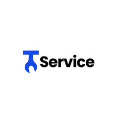 t letter wrench service logo icon vector image