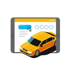 taxi service online on tablet screen online vector image