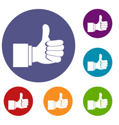 thumb up gesture icons set vector image