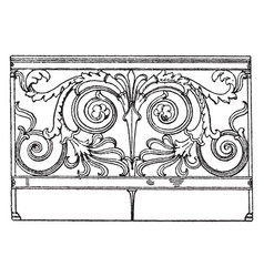 Trellis parapet wrought-iron trellis-rods vector
