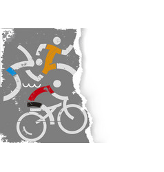 Triathlon race icons on grunge stylized paper vector