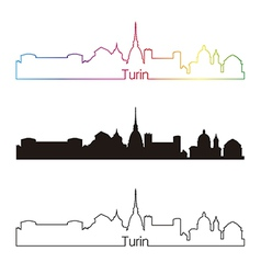 Turin skyline linear style with rainbow vector image