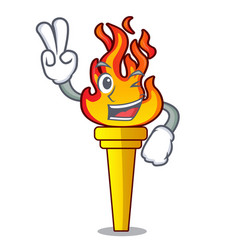 two finger torch character cartoon style vector image