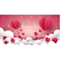 Valentine s day air balloon heart vector