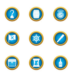 Video piracy icons set flat style vector
