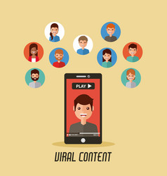 viral content mobile phone video people vector image