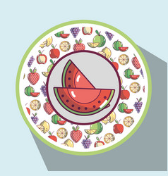 Watermelon with fresh fruits background design vector