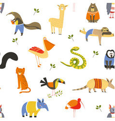 wild american animals and birds seamless pattern vector image