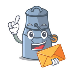 with envelope milk can character cartoon vector image