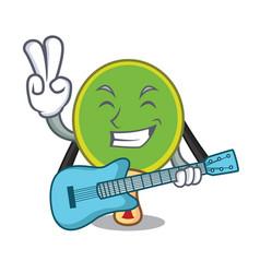 With guitar ping pong racket mascot cartoon vector