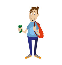 young man holds in his hand a bottle of drink vector image
