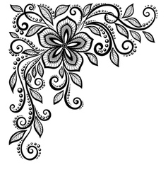 Black-and-white lace flower in the corner vector