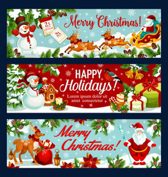 christmas festive banner of santa sleigh with gift vector image
