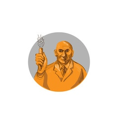 Crazy Scientist Holding Test Tube Circle Drawing vector image vector image