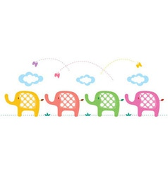 cute elephants background vector image vector image
