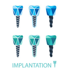 dental implant symbol set vector image vector image