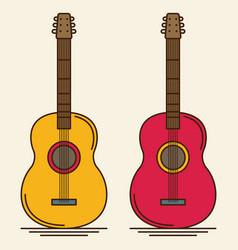 flat guitar musical instrument flat vector image