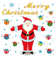 Merry Christmas with Santa Claus and gifts vector image