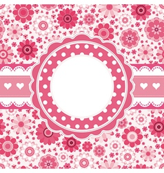 Pink retro card with floral pattern Seamless vector image