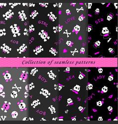 set of skull seamless patterns vector image vector image
