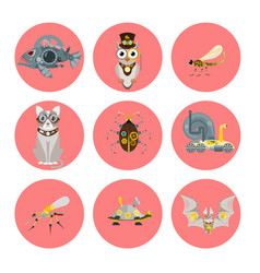 stylized metal steampunk mechanic robots animals vector image