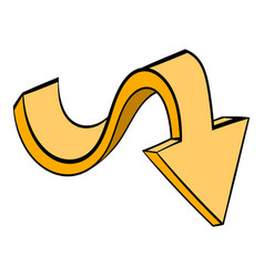 yellow wavy arrow icon icon cartoon vector image
