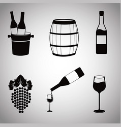 collection wine image icons vector image
